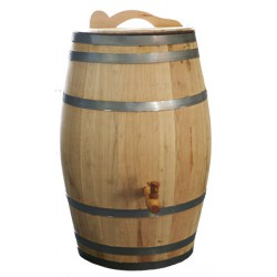 Real wooden chestnut rain barrel 26 gallons complete edition
