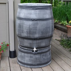 Synthetic wood look rain barrel 95,11 gallons