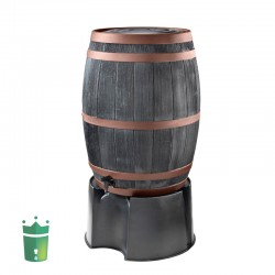 Wood look black oak rain barrel 62 gallons