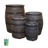 wood look rain barrel